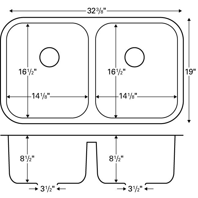 "Karran E350, Edge 32-1/4"" x 19"" Undermount Kitchen Sink, Double equal Bowls :: Image 20"