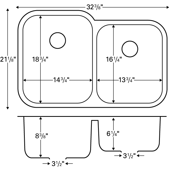 "Karran E360R, Edge 32"" x 21-1/2"" Undermount  Kitchen Sink, Large/Small Bowls :: Image 20"
