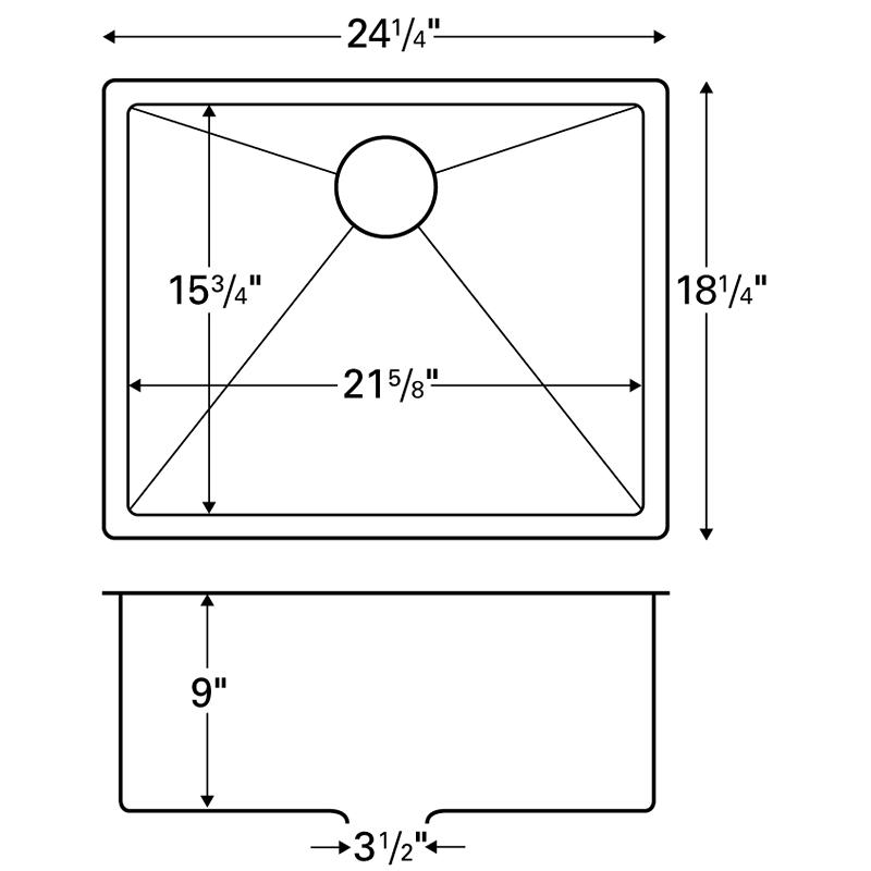 """Karran E-420, Edge 24-1/4"""" x 18-1/4""""  Undermount Kitchen Sink, Single Bowl :: Image 20"""