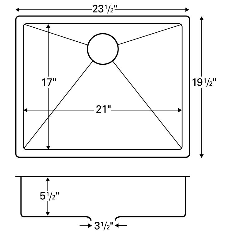 """Karran E525, Edge 23-1/2"""" x 19-1/2"""" Undermount Kitchen Sink, Single Bowl, ADA :: Image 20"""