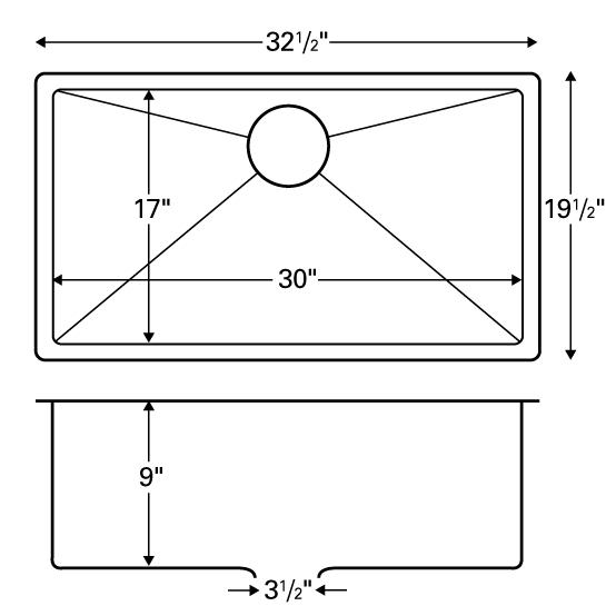 """Karran E540, Edge E-540 32-1/2"""" x 19-1/2"""" Undermount Kitchen Sink, Extra Large Single Bowl :: Image 20"""