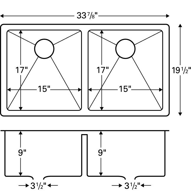 "Karran E550, Edge E-550 33-7/8"" x 19-1/2"" Undermount Kitchen Sink, Double Equal Bowls :: Image 20"