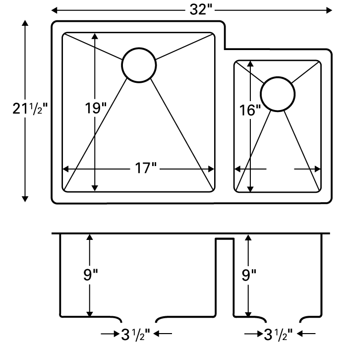 "Karran E560R, Edge 32"" x 21-1/2"" Undermount Kitchen Sink, Double Large/Small Bowls :: Image 20"