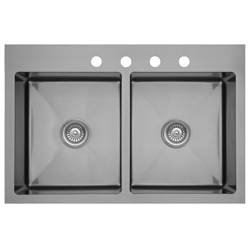 "Karran EL-35, 33"" x 22"" 16 Gauge Top Mount Kitchen Sink Double Bowl, Stainless Steel :: Image 10"