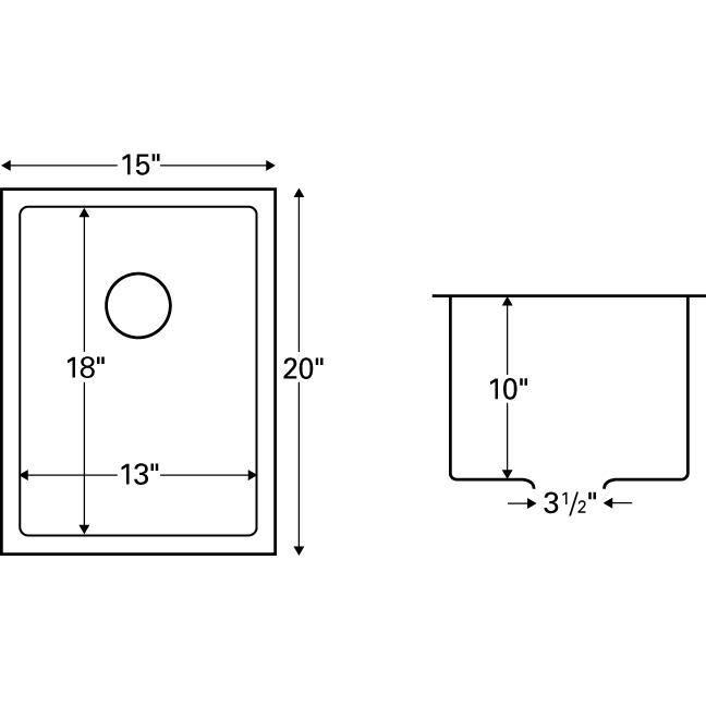 """Karran EL-71, 15"""" x 20"""" 16 Gauge Undermount Single Bowl Bar/Prep Sink, Stainless Steel :: Image 20"""