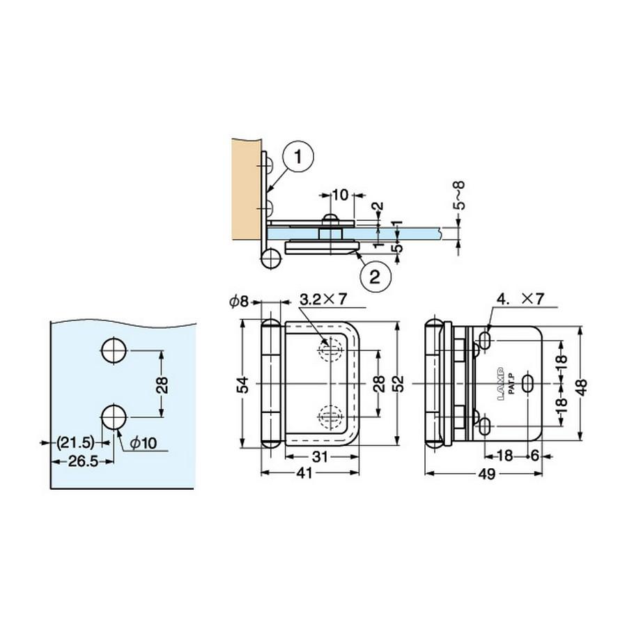 "Inset Glass Door Hinge 1-15/16"" L Gold Sugatsune XL-GH03-48-0GC Line Drawing"
