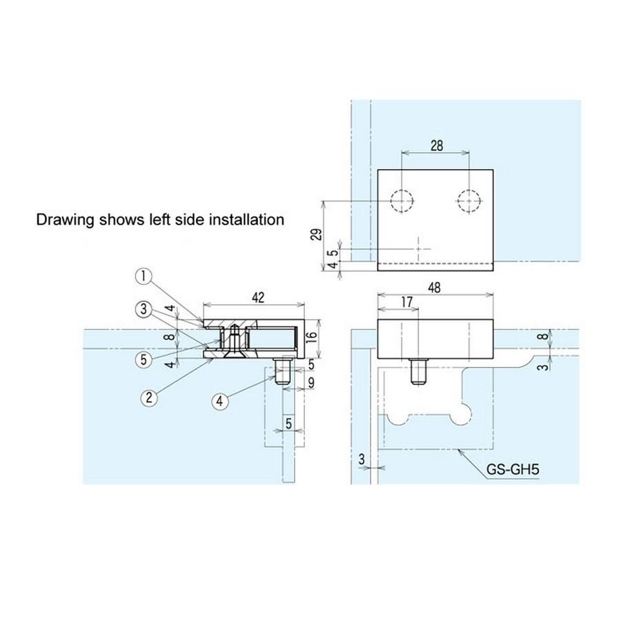 GS-GH Series Bracket Line Drawing