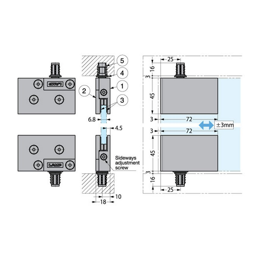 GH-GS Hinge Technical Line Drawing
