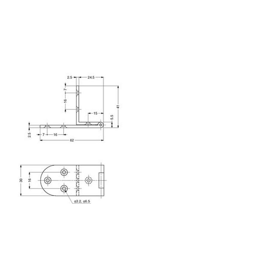 AHA Series Angle Hinge Technical Line Drawing