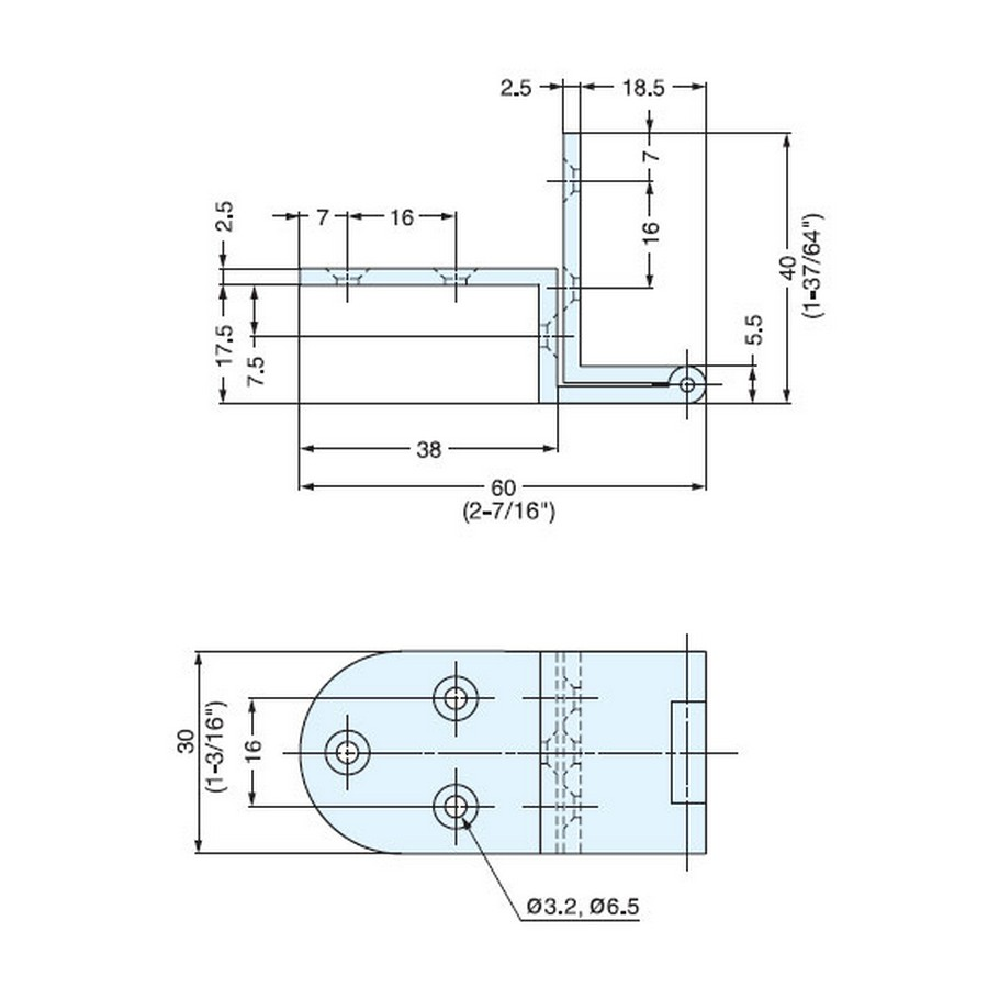 AHB Series Angle Hinge Technical Line Drawing