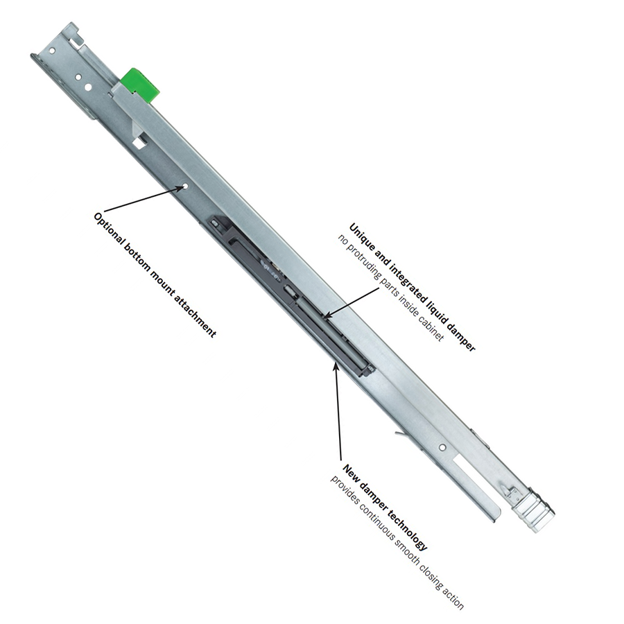 """Grass 13305-03, Maxcess 21"""" Undermount Drawer Slide for Face Frame, 7/8 Extension, Soft-Close :: Image 10"""