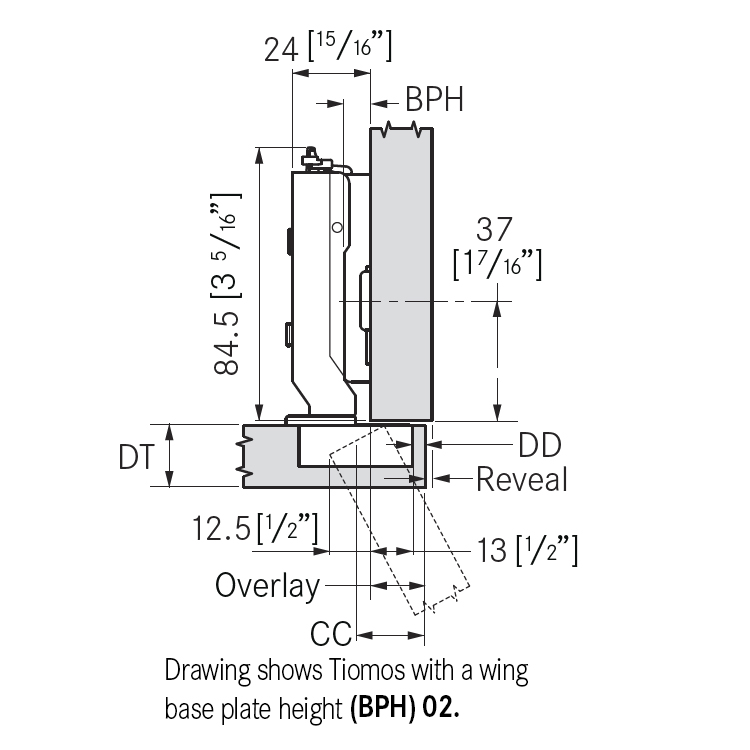 Grass F028138341228 110 Degree Tiomos Soft-close Hinge, Full Overlay, Dowel, 42mm Boring Pattern :: Image 10