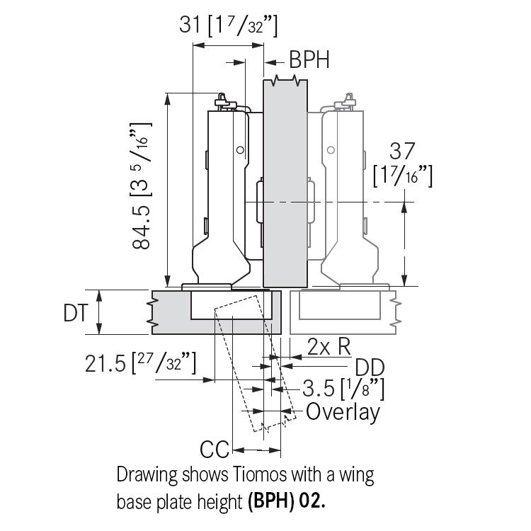 Grass F045138281228 110 Degree Tiomos Self-close Hinge, Half Overlay, Dowel, 42mm Boring Pattern :: Image 10