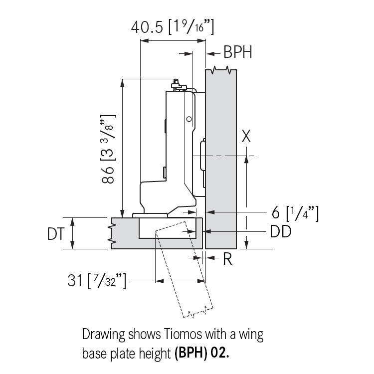 Grass F045138282228 110 Degree Tiomos Self-close Hinge, Inset, Dowel, 42mm Boring Pattern :: Image 10