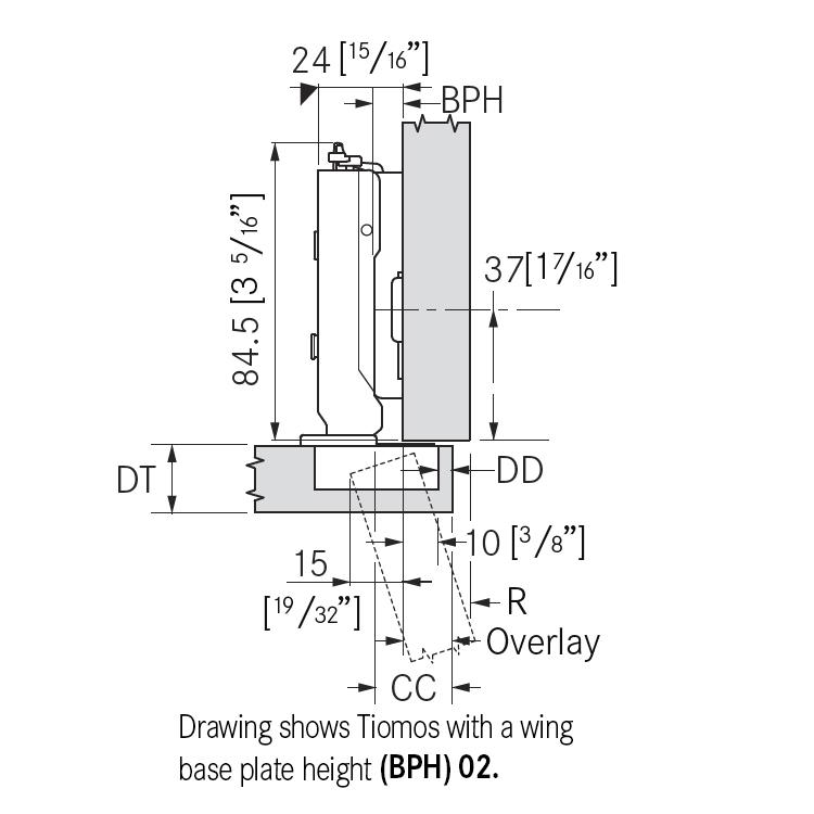 Grass F045138280228 110 Degree Tiomos Self-close Hinge, Overlay, Dowel, 42mm Boring Pattern :: Image 10