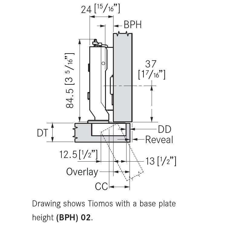 Grass F045138307228 120 Degree Tiomos Self-close Hinge, Full Overlay, Dowel, 42mm Boring Pattern :: Image 20