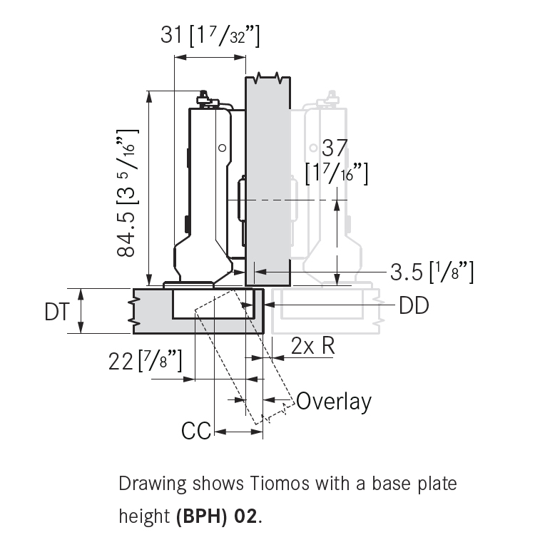 Grass F045138309228 120 Degree Tiomos Self-close Hinge, Half Overlay, Dowel, 42mm Boring Pattern :: Image 10