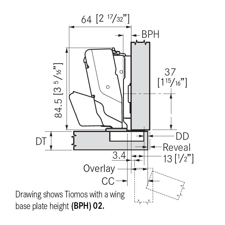 Grass F028138382217 160 Degree Tiomos Soft-close Hinge, Full Overlay, Dowel, 42mm Boring Pattern :: Image 10