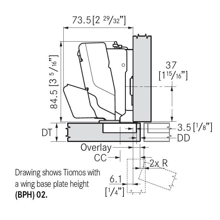 Grass F028138384217 160 Degree Tiomos Soft-close Hinge, Half Overlay, Dowel, 42mm Boring Pattern :: Image 10