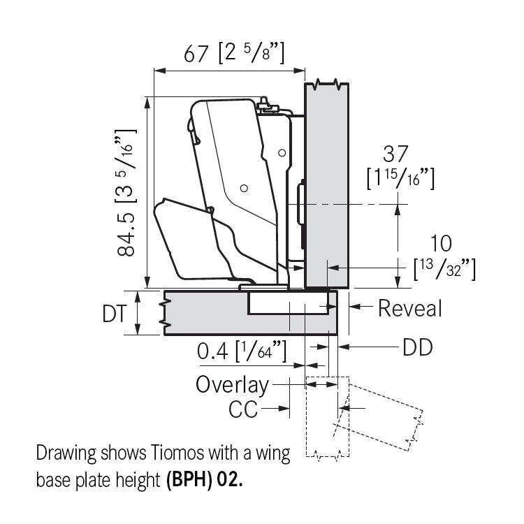 Grass F045138321217 160 Degree Tiomos Self-close Hinge, Overlay, Dowel, 42mm Boring Pattern :: Image 10