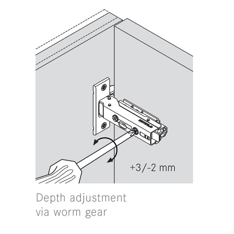 Grass F028138343228 110 Degree Tiomos Soft-close Hinge, Half Overlay, Dowel, 42mm Boring Pattern :: Image 40