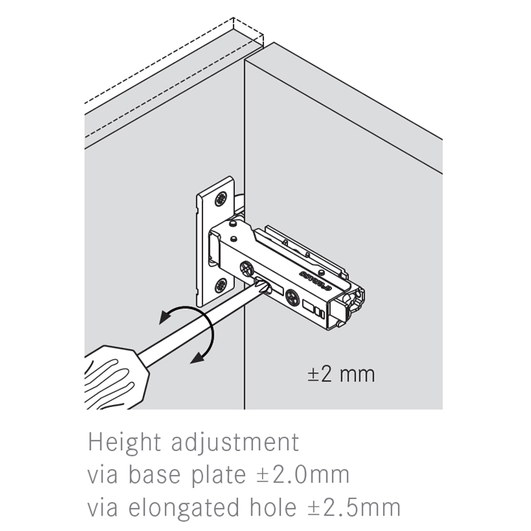 Grass F045138281228 110 Degree Tiomos Self-close Hinge, Half Overlay, Dowel, 42mm Boring Pattern :: Image 50