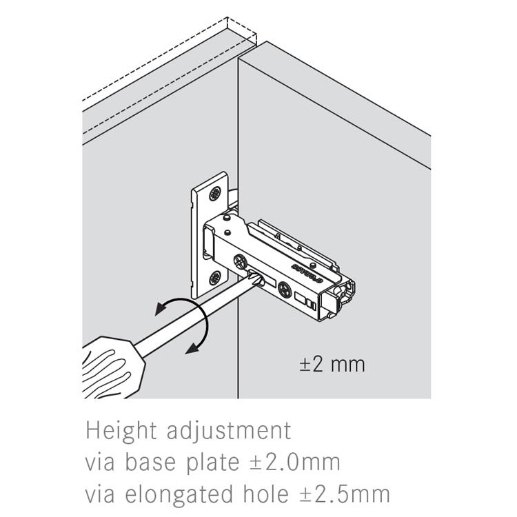 Grass F045138320217 160 Degree Tiomos Self-close Hinge, 25mm Full Overlay, Dowel, 42mm Boring Pattern :: Image 50