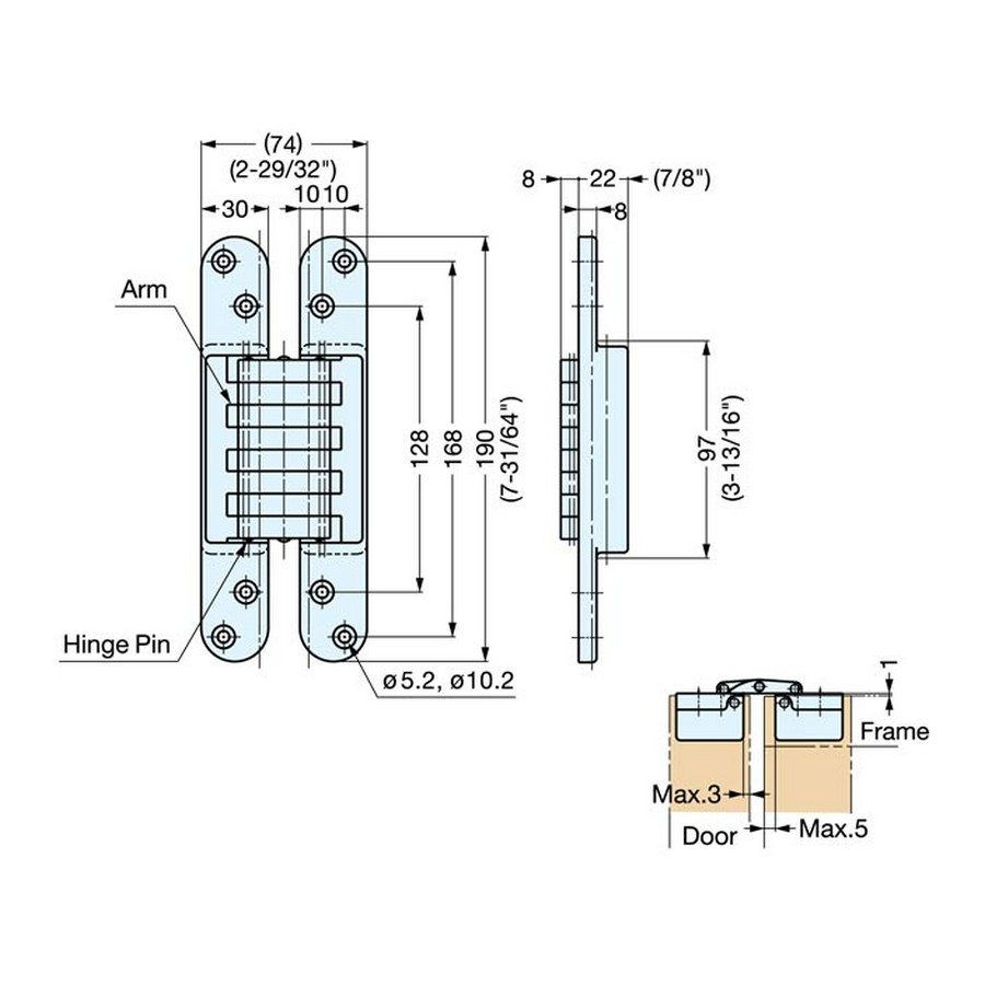 HES-3030 Series Hinges Technical Line Drawing