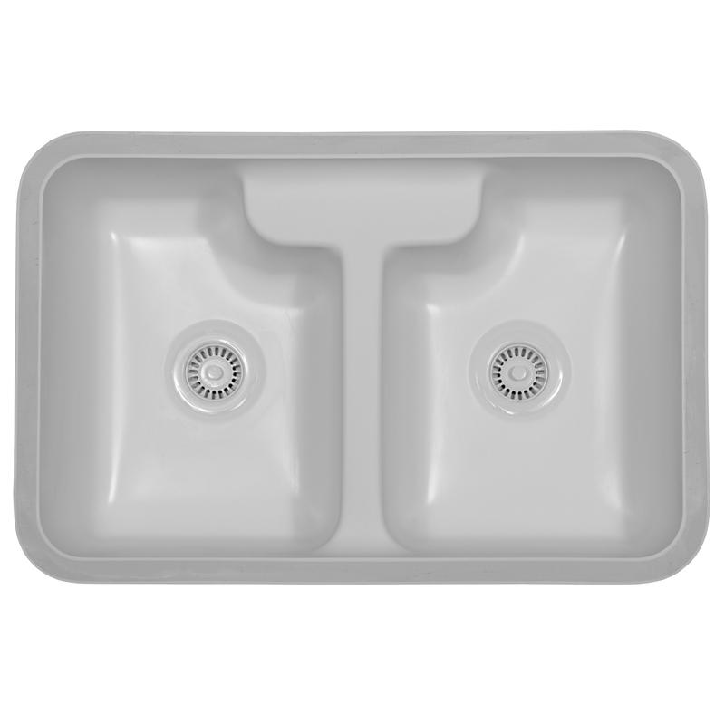 "Karran HAMW, Hampton 31-3/4"" x 20-3/4"" Acrylic Kitchen Sink, Undermount Double Equal Bowls, White :: Image 10"
