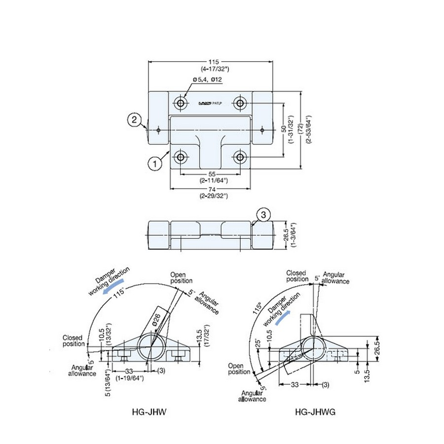 Soft-Close Surface Mount Damper Hinge Sugatsune HG-JHWG70 Line Drawing