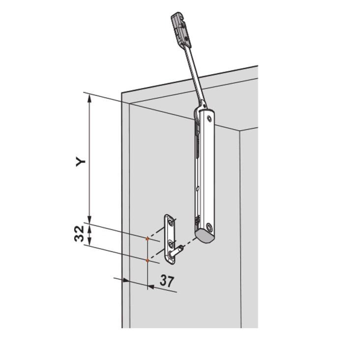 Blum 20K5101 AVENTOS HK-XS Cabinet Mounting Plates, Screw-On for Frameless Cabinets :: Image 40