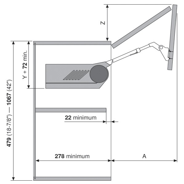 Blum 20F2200.N5 Aventos HF Bi-Fold Lift Mechanism, Power Factor 85 -230 :: Image 90