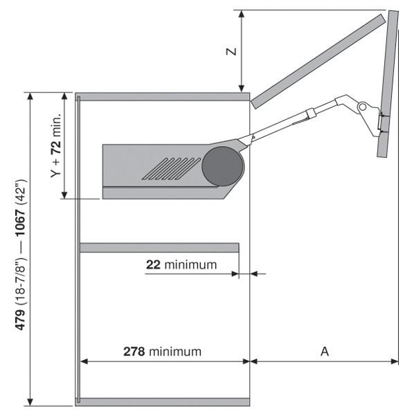 Blum 20F2500.N5 Aventos HF Bi-Fold Lift Mechanism, Power Factor 471 - 880 :: Image 90