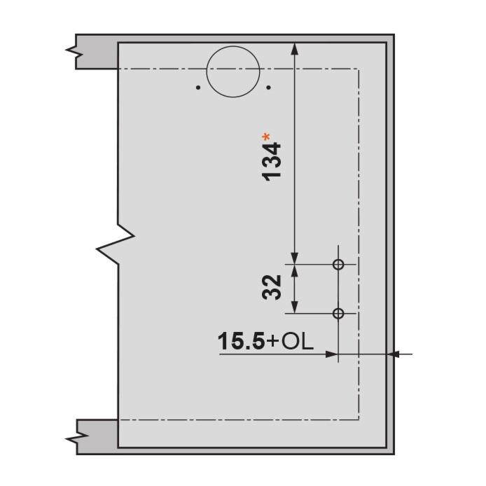 Blum 20K4101 AVENTOS HK-XS Lift System Door Mounting Plates, Wood Wide Aluminum :: Image 30