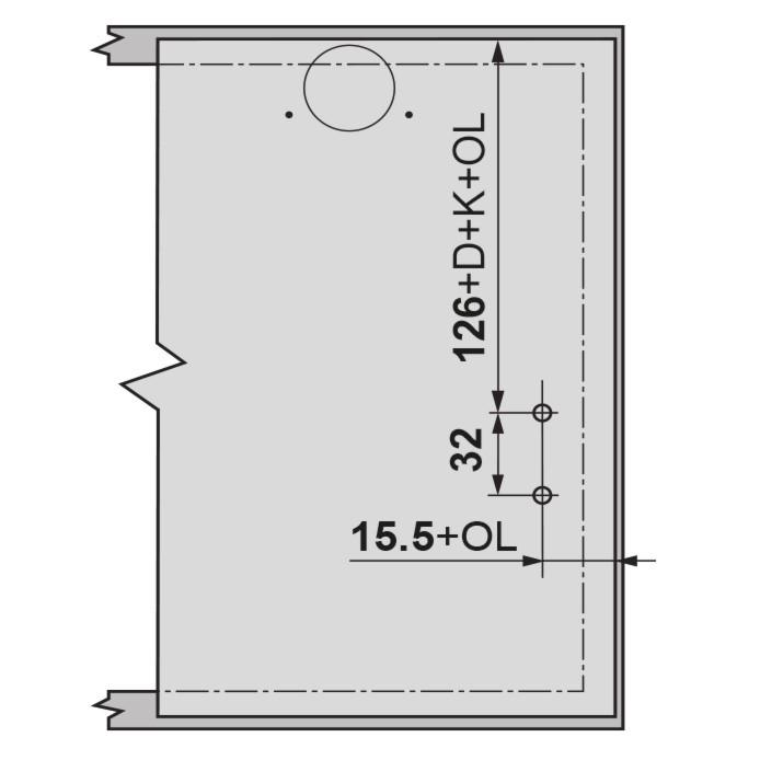 Blum 20K4101 AVENTOS HK-XS Lift System Door Mounting Plates, Wood Wide Aluminum :: Image 40