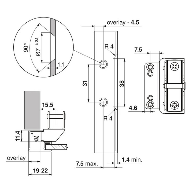 Blum 20K51E1 AVENTOS HK-XS Cabinet Mounting Plates, EXPANDO for Frameless Cabinets :: Image 60