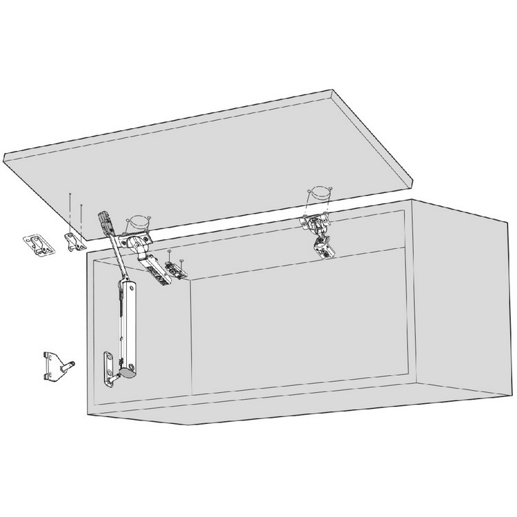 Blum 20K4101 AVENTOS HK-XS Lift System Door Mounting Plates, Wood Wide Aluminum :: Image 20