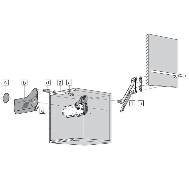 Blum 20L2300.N5 Aventos HL Lift Mechanism for Door Weight 2lbs 3oz. to 3lbs 4oz :: Image 10