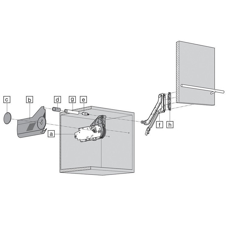 Blum 20L2500.N5 Aventos HL Lift Mechanism for Door Weight 3lbs 5oz. to 10lbs 6oz :: Image 80