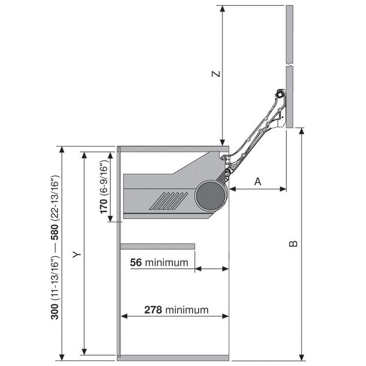 Blum 20L2300.N5 Aventos HL Lift Mechanism for Door Weight 2lbs 3oz. to 3lbs 4oz :: Image 70