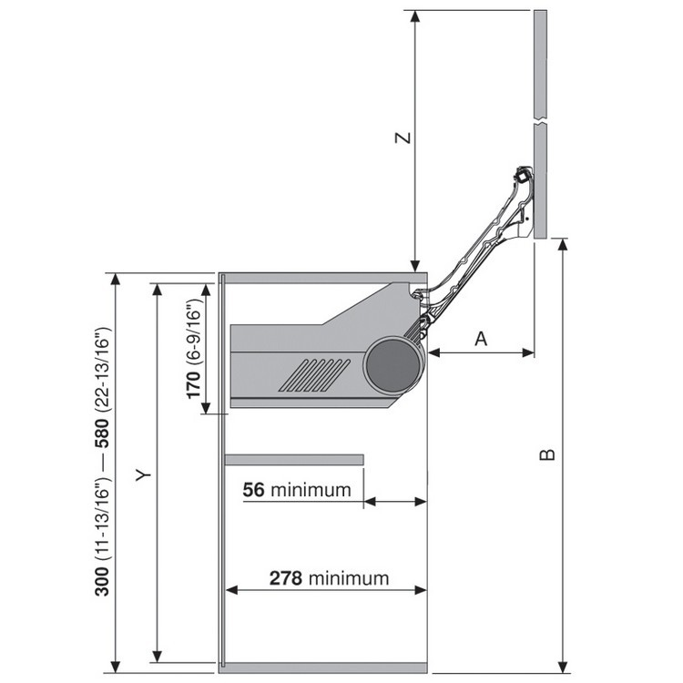 Blum 20L2300.N5 Aventos HL Lift Mechanism for Door Weight 2lbs 3oz. to 3lbs 4oz :: Image 140