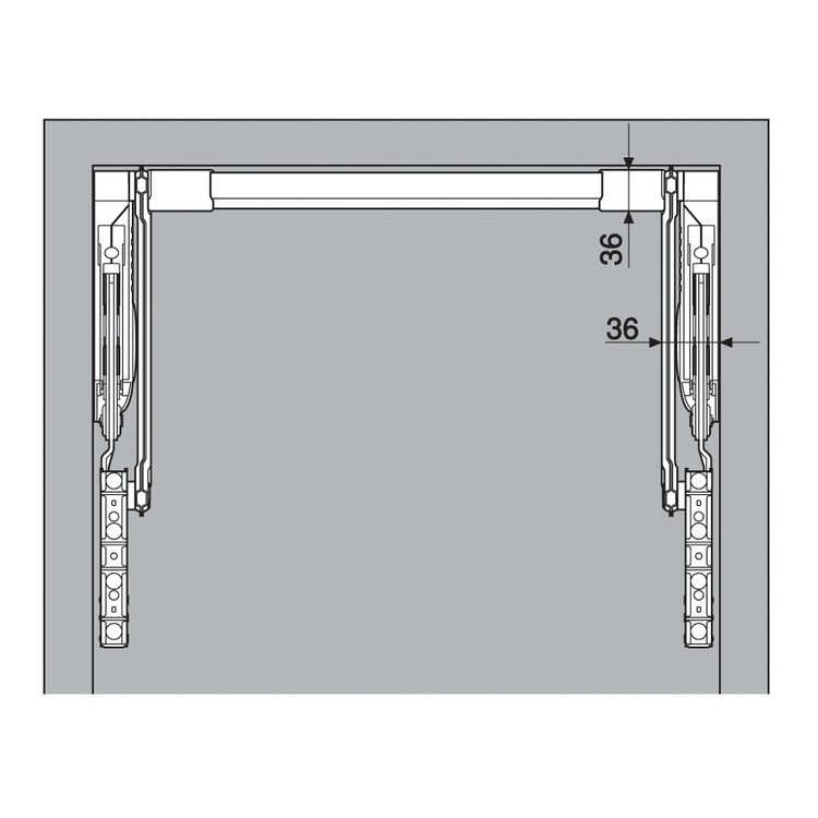 Blum 20L2500.N5 Aventos HL Lift Mechanism for Door Weight 3lbs 5oz. to 10lbs 6oz :: Image 90