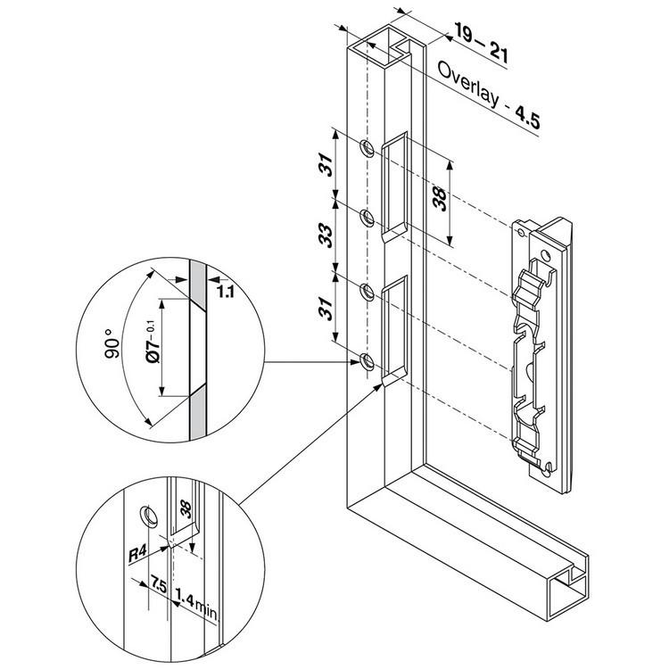Blum 20S4200A Aventos Narrow Aluminum Door Hardware Set :: Image 60