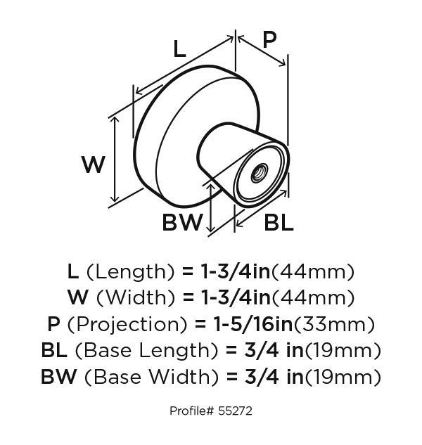 Amerock BP55272-BBR Modern Knob, dia. 1-5/8, Black Bronze, Blackrock :: Image 20
