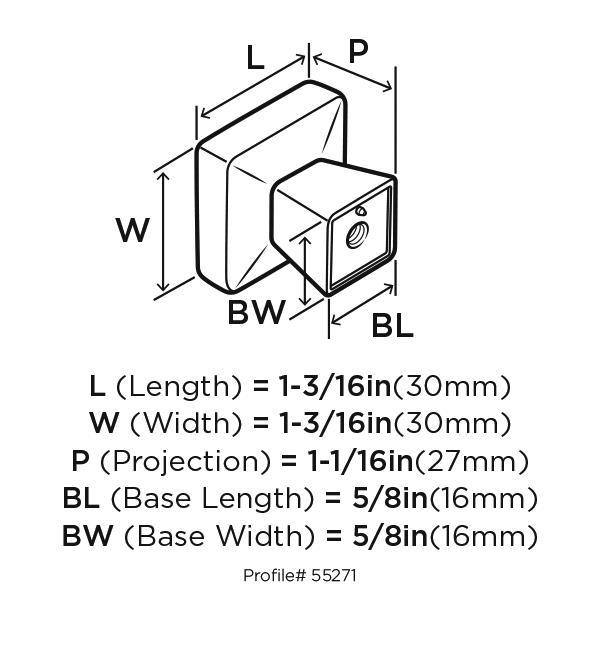 Amerock BP55271-BBR Square Knob, Black Bronze, Blackrock :: Image 20