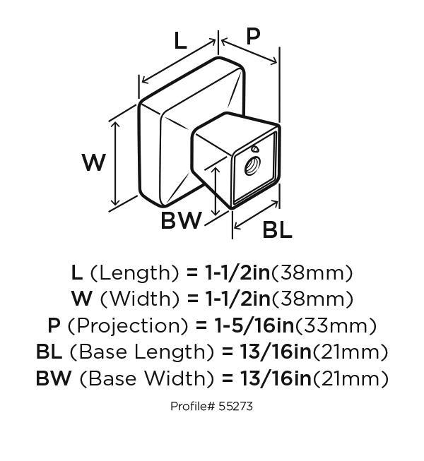 Amerock BP55273-BBR Square Knob, Black Bronze, Blackrock :: Image 20