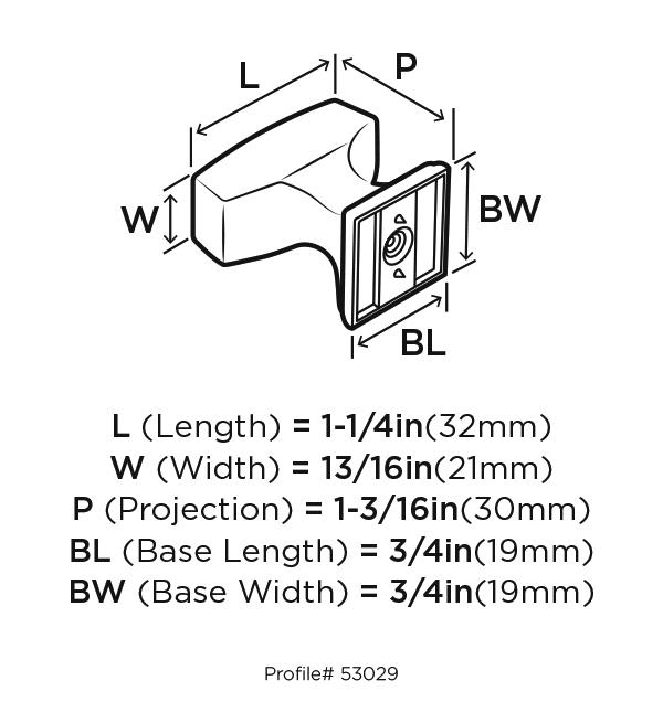 Amerock BP53029-R3 T-Knob, Length 1-1/4, Rustic Brass, Mulholland :: Image 20