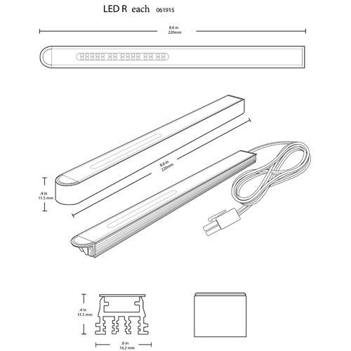 "Tresco Reach Series, 2W LED Linear Light with 79"" Cord, L-HREACH-WBL-1 :: Image 20"
