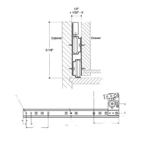 """18"""" x 19-3/4"""" Side Mount 60 lb Roller Bearing Slide, 3/4 Extension, Zinc, Knape and Vogt 1260BSW18001975 :: Image 20"""