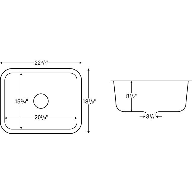 "Karran MADB, Madrid 22-3/4"" x 18-1/8"" Acrylic Kitchen Sinks, Undermount Single Bowl, Bisque :: Image 20"